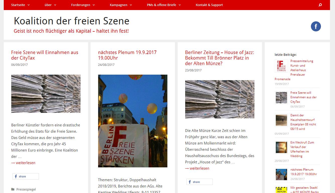 screenshot der Koalition der freien Szene Berlin