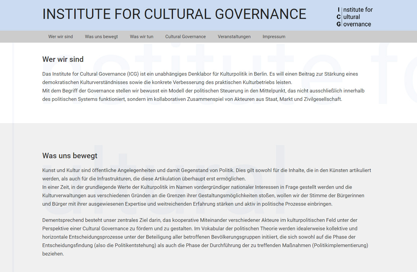 Institute for Cultural Governance